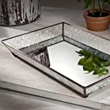 J Devlin Tra 106-1 Vintage Glass Jewelry Tray with Mirrored Bottom Vanity Organizer