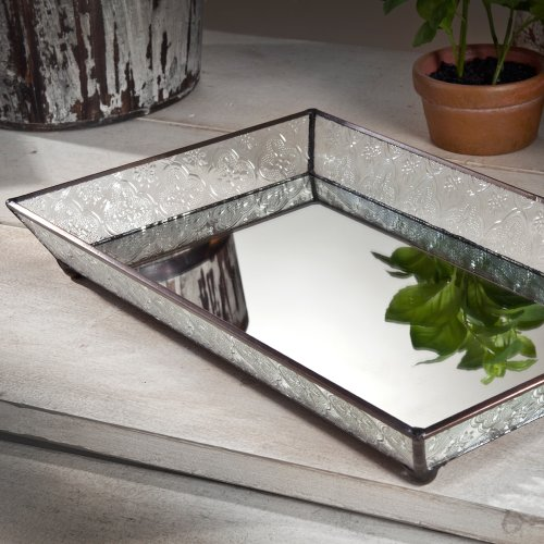 J Devlin Tra 106-1 Vintage Glass Jewelry Tray with Mirrored Bottom Vanity Organizer (Perfume Vanity)