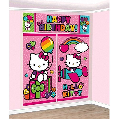 Hello Kitty Rainbow Scene Setters Wall Decorating Kit Birthday Farbe Party Decoration Multi
