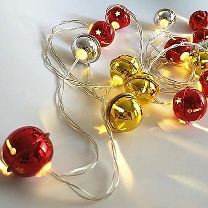 fidgetfidget string light bell shape gold silver battery powered christmas light 20 leds led gold light