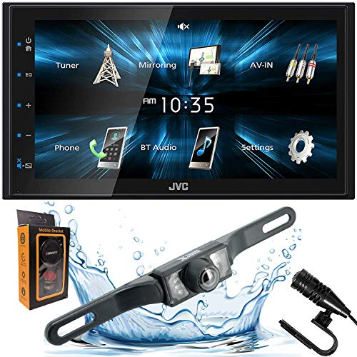 """JVC KW-M150BT Digital Media Receiver featuring 6.8"""" WVGA Capacitive Monitor with Backup Camera + Gravity Magnet Phone Holder"""