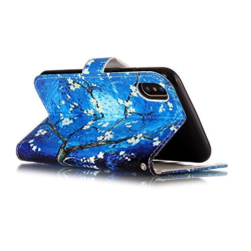 iPhone X Hülle, Chreey Premium PU Leder Tasche Klapphülle 3D Muster Kreatives Design Brieftasche Handyhülle mit Magnet Kartenfächer Standfunktion Schutzhülle Bumper Etui [Lila Blume] Blauer Ölgemälde Baum