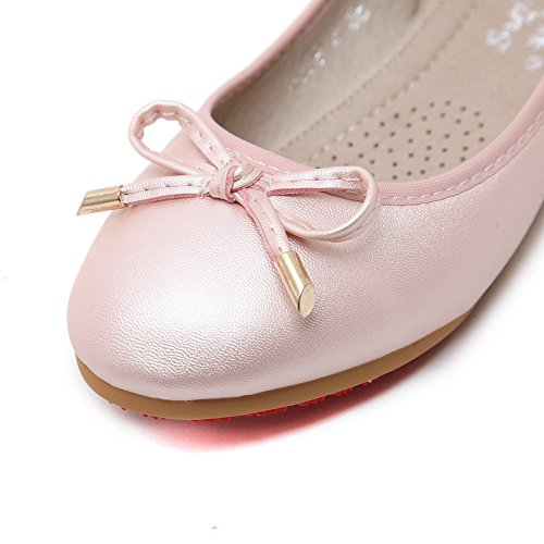Pink Low Womens Bows AdeeSu Toe Cut Flats Round Uppers Urethane Ballet qvB11wE