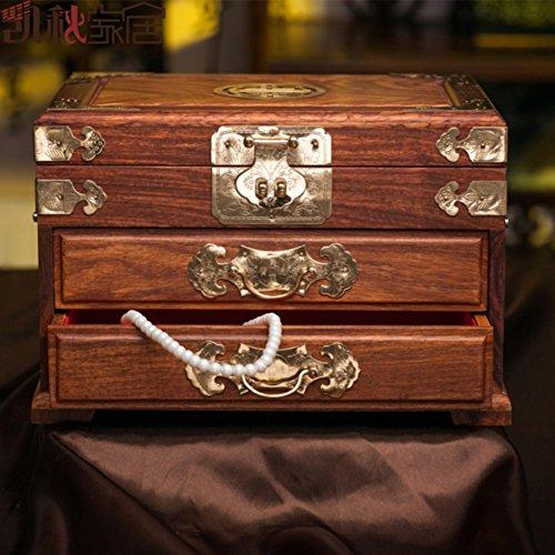 MYITIAN Rosewood casket Creative double mahogany Dresser solid wood antique jewelry box treasure box with brass lock ()