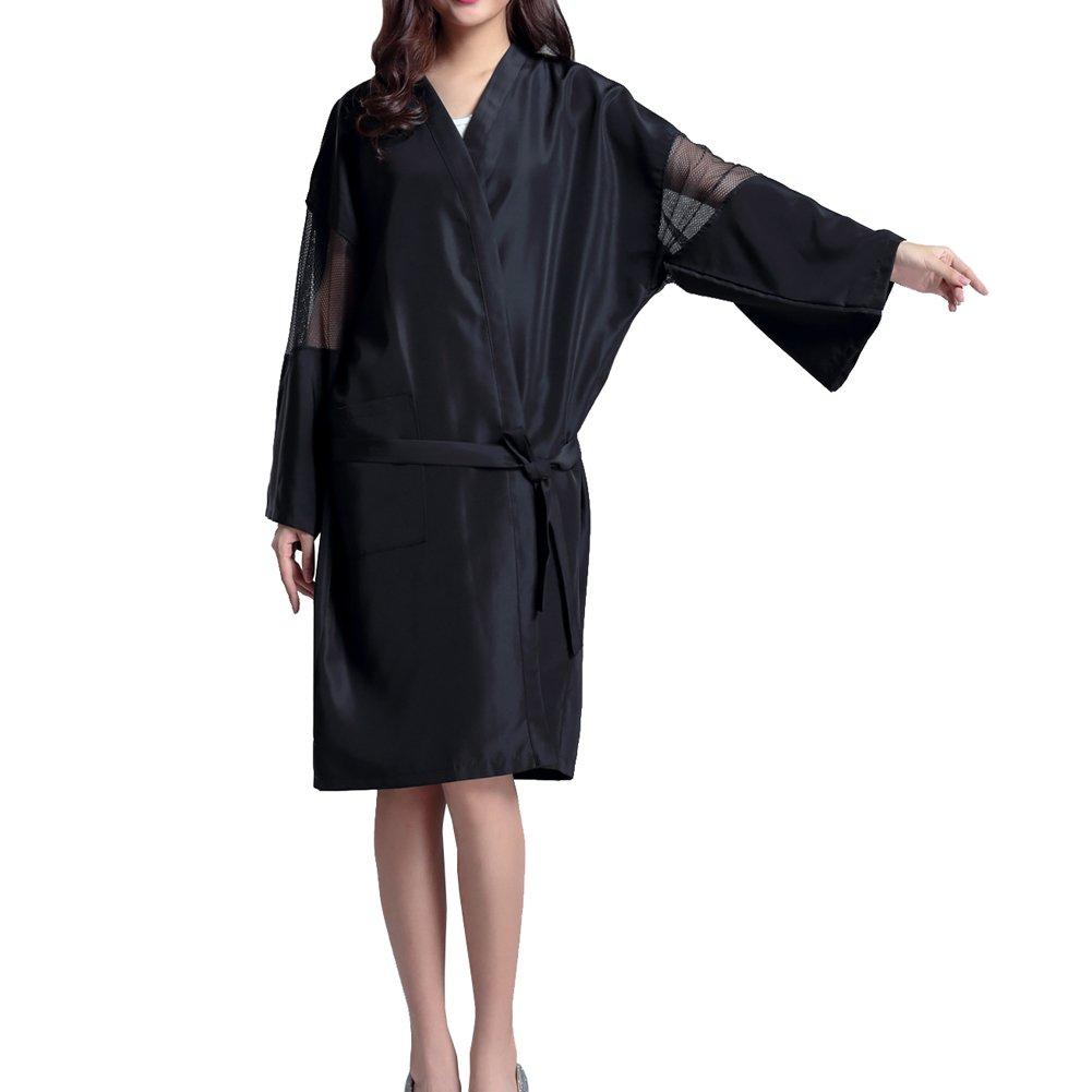 Professional Hair Salon Cape Waterproof SPA Kimono Bath Robe-Black Black Temptation