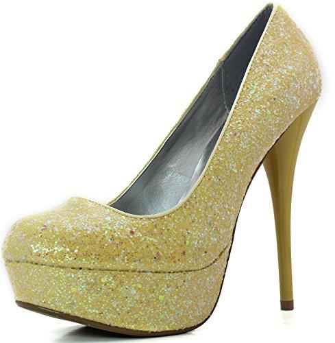 Women's Platform Party Dress Classic Sky High Heel Stiletto Pump Shoes, Yellow Gl, 8 B(M) US -