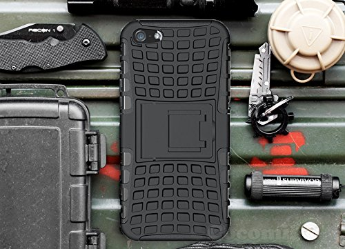 Cocomii Grenade Armor iPhone SE/5S/5 Case New [Heavy Duty] Premium Tactical Grip Kickstand Shockproof Bumper [Military Defender] Full Body Dual Layer Rugged Cover for Apple iPhone SE/5S/5 (G.Black)