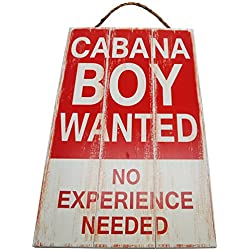 Cabana Boy Wanted No Experience Needed Vintage Wood Sign For Beach House Wall Decor Or Gift -- PERFECT BEACH HOUSE DECOR!
