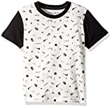 Lucky Brand Boys' Toddler Short Sleeve Printed Tee Shirt, White Cloud Convo, 3T