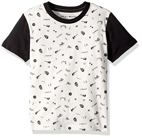 Lucky Brand Boys' Toddler Short Sleeve Printed Tee Shirt, White Cloud Convo, 3T by Lucky Brand