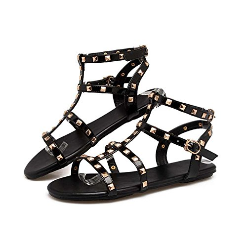 Shoes Slides Zcaosma 43 Shoes Rivets Cross Summer Flops Size34 Black Flip Sandals Strap Flats Women Sandals 66qwSzxrCf