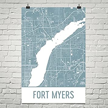 Map Of Fort Myers Florida.Amazon Com Fort Myers Map Ft Myers Art Fort Myers Print Fort