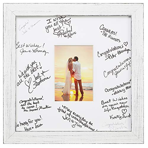 (Craig Frames 14 x 14 Wedding Signature Picture Frame Matted to Display a 5 x 7 Inch Photo, Marshmallow White)