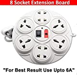 Digway 8+1 Round Strip Extension Cord;6 Amp 8 Universal Multi Plug Point Extension Board (Cord Length: 2.50 Meter) with LED Indicator and on/Off Switch