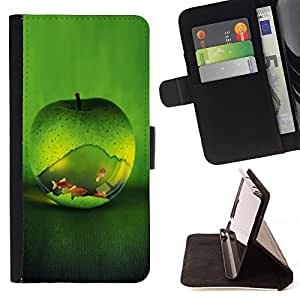 DEVIL CASE - FOR LG G3 - cool green apple fish aquarium gold nature - Style PU Leather Case Wallet Flip Stand Flap Closure Cover