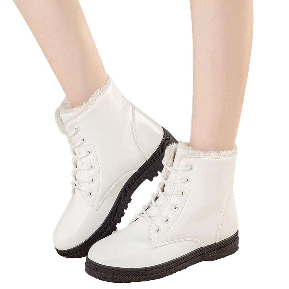 Viernes Negro JiaMeng Botas para la Nieve con Tobillo Zapatos de Invierno Elegantes Botas Altas Botas Planas con Cordones Mujer Invierno Moda Calentar ...