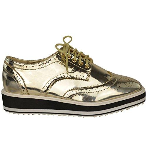 Or Ecole Lacets Grimpantes Pointure Plat Fashion À Épaisse Smart Chaussures Mocassin De Plantes Métallisé Dames Femmes Semelle Thirsty HYvwfa7