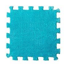 3PC Furry EVA Foam Puzzles Mat 3030CM, SUPPION Baby Bedroom Splice Floor Puzzles Blue