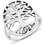DTPSilver - 925 Sterling Silver Oval Tree of Life Ring