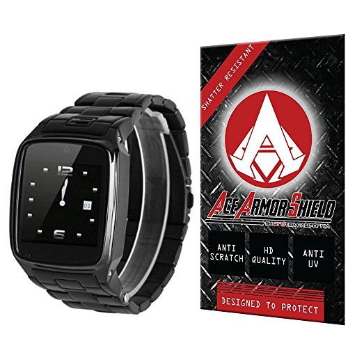 Ace Armor Shield Shatter Resistant Screen Protector for the Excelvan Dual Bluetooth Smartwatch / Military Grade / High Definition / Maximum Screen Coverage / Supreme Touch Sensitivity /Dry or Wet Easy Installation with free lifetime replacement warranty