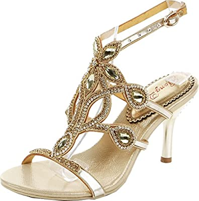 Abby MNS-L006 Womens Fashion Wedding Bride Bridesmaid Show Party Leather Mid Heel Sandals