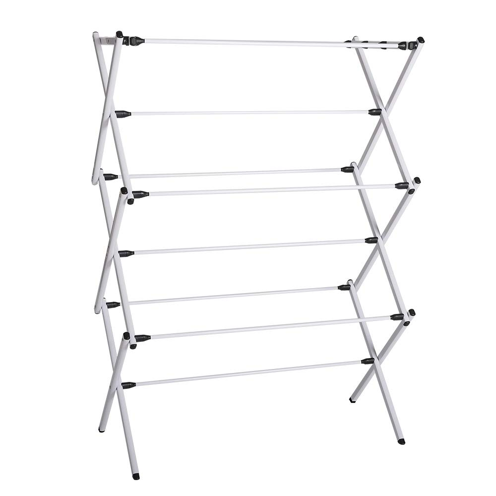 JZM Quality 3 Tier Indoor Airer Foldable Concertina, White, Material Carbon Steel Tube