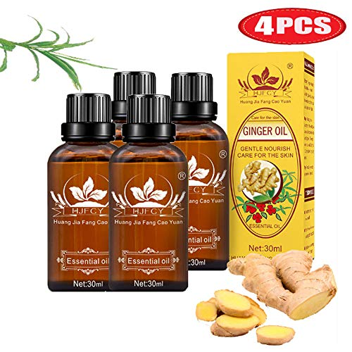 4 Pack Ginger Essential Oil 100% Pure Natural Plant Lymphatic Drainage Ginger Oil SPA Massage Oils Repelling Cold and Relaxing Active Oil Promote Blood Circulation Relieve Muscle Soreness 120ml