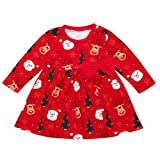 Halloween Outfits for Baby Girls Toddler Kid Long Sleeve Santa Print Dress Christmas Clothes Red 100