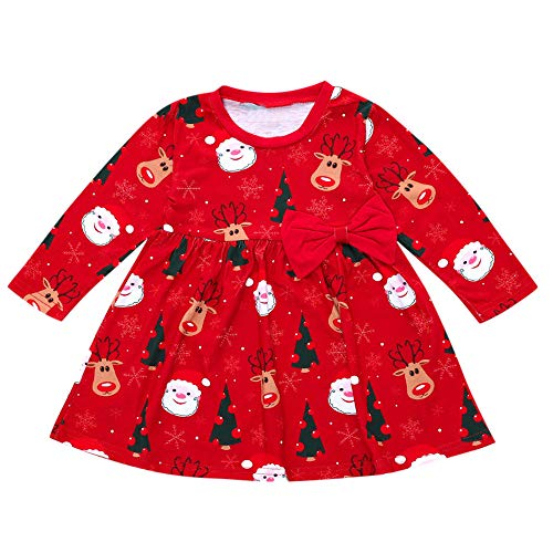 Infant Toddler Girls Christmas Costum Dress  Long Sleeve Xmas Santa Deer Print Bowknot Cotton Casual A-line Dresses (12-18 Months, Red)]()