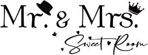 FENCOSYN Mr. and Mrs. Sweet Room Removable Vinyl Wall Decals Stickers Bedroom Home Decor