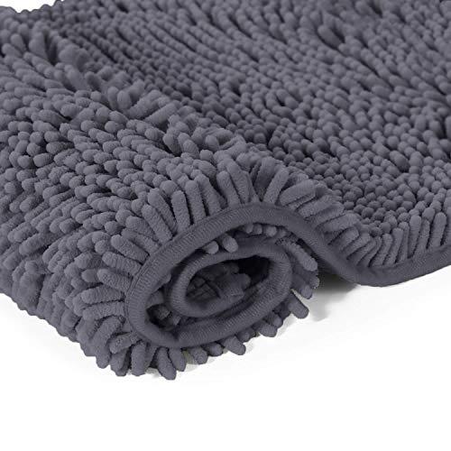 LuxUrux Bathroom Rug Mat -Extra-Soft Plush Bath Shower Bathroom Rug,1'' Chenille Microfiber Material, Thickening Shaggy Tub Mat Carpet, Super Absorbent. Machine Wash & Dry (27''x 47 inches, Dark Gray) by LuxUrux (Image #5)