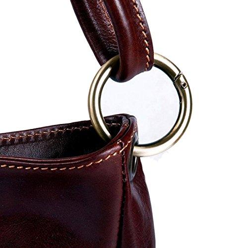 MICHELANGELO Fatto a mano in Vera Pelle Italia - Borsa Shopper con anello in Pelle 34x11 H28 cm (NERO) nero