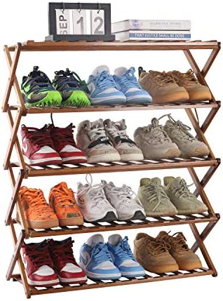 PENGKE Multi Tier Shoe Rack,Foldable Bamboo Shoe Organizer Rack Multifunctional Storage Free Standing Shoe Shelf,5 Tier