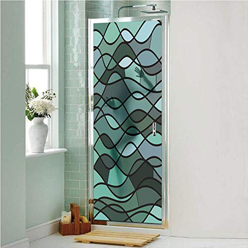 Teal 3D No Glue Static Decorative Privacy Window Films, Abstract Mosaic Waves Ocean Inspired Expressionist Pattern Marine Design Image Decorative,24