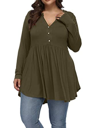 5c90a42c71a Allegrace Women's Plus Size Henley V Neck Button Tunic Tops Long Sleeve  Swing Flowy Shirts Army