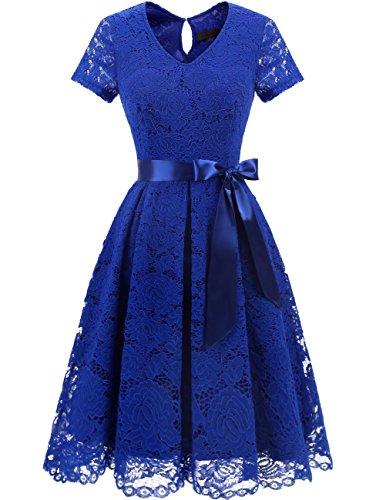DRESSTELLS Women's Elegant Bridesmaid Dress Floral Lace Dresses with Short Sleeves Royal Blue 3XL (Royal Blue Wedding Guest Dress)