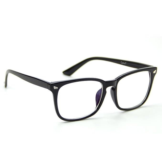 6cd5bd2483 Cyxus [lentes transparentes] vidrios ordinarios, Retro Moda Unisexo Gafas ( Marco negro clásico