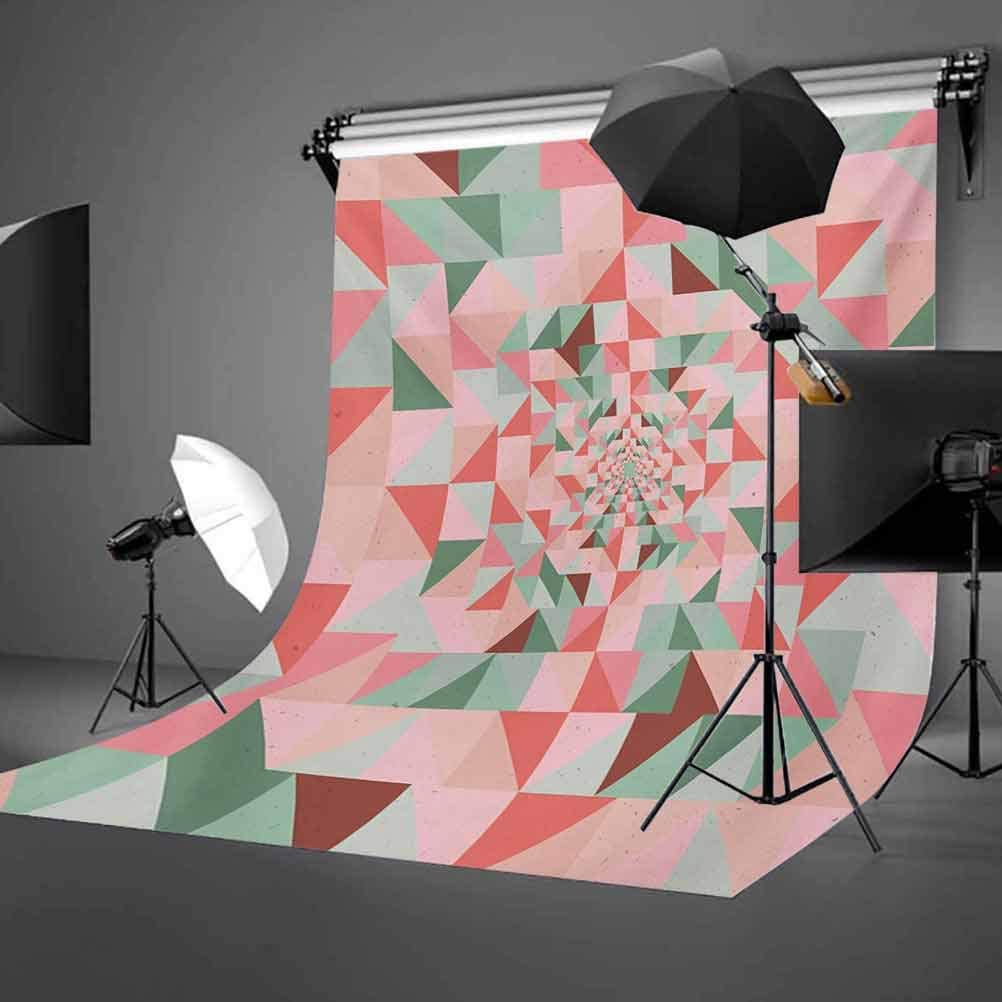 Retro 10x12 FT Backdrop Photographers,Unusual Art Composition of Geometrical Shapes Triangles Pastel Color Pattern Background for Baby Birthday Party Wedding Vinyl Studio Props Photography