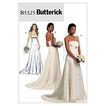 Butterick Ladies Sewing Pattern 5325 - Bridal Wedding Dress with ...