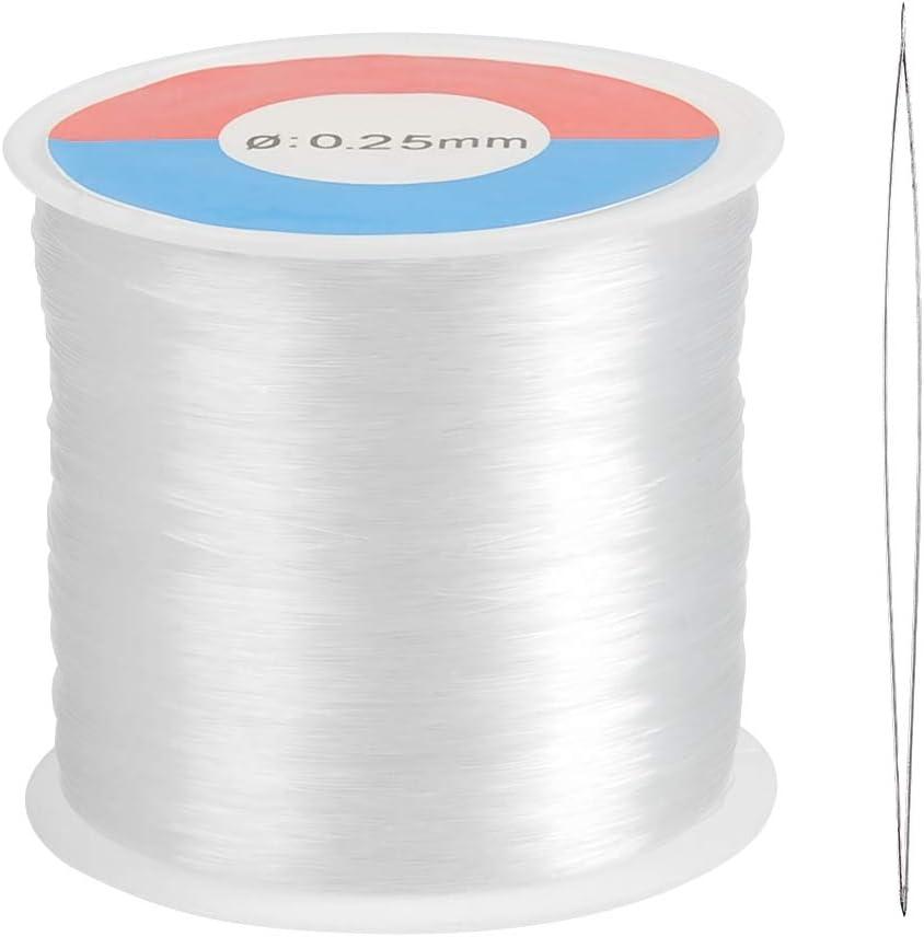 WOWOSS 500m Hilo de Abalorios Transparente 0.25mm Hilo Invisible de Nylon con Aguja de Abalorios, para Pulsera Collar y Otras Manualidades
