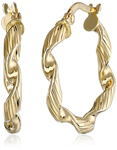 14k Yellow Gold Italian Twisted Hoop Earrings 14k Yellow Gold Twisted Hoop