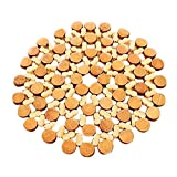 Crylee Bamboo Round Placemat Heat Insulation Hollow Pad Desk Table Coasters Pot Cup Mat Heat Insulation Placemat Plate Coaster Round Pad Cup Table Bowl Mat Coaster Cup Mat (15X15)