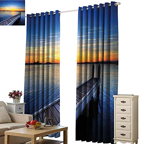 Warm Family Lake Soft Curtain Tranquil Summer View of Setting Sun on The Horizon of Lake Macquarie in Belmont 70%-80% Light Shading, 2 Panels,W72 x L108 Blue Orange Umber