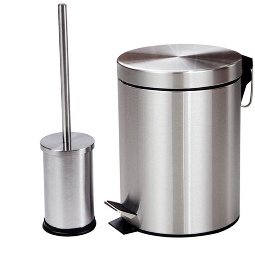 GMM® Household trash cans stainless steel trash cans toilet brush material stainless steel capacity 8L