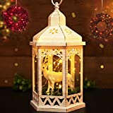 "BRIGHT ZEAL 14"" TALL Vintage HEXAGON Lanterns with Cute REINDEER BEAR & 30 LED String Lights (Distressed WHITE Coating, 6hr Timer) - LED Christmas Lights - Christmas Lanterns Indoor Hanging Lights"