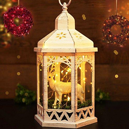 Vintage HEXAGON Lanterns REINDEER Distressed