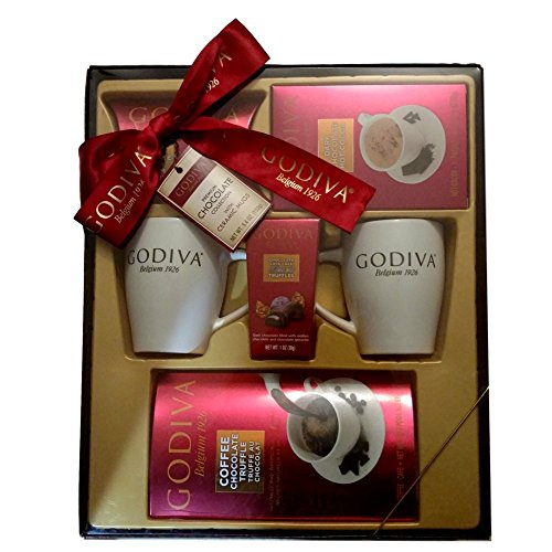 Godiva Coffee, Chocolate & Truffles Gift Set with Ceramic Mugs