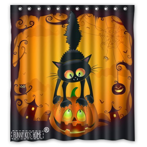Scary Cat on the Pumpkin Happy Halloween Decoration- Fashion Personalize Custom Bathroom Shower Curtain Waterproof Polyester Fabric 66(w)x72(h) Rings Included