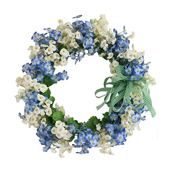 Calcifer 13.78 Inch Artificial Garland Silk Flower Wreath Hanging Flowers Roses for Front Door, Wall, Home, Garden,Wedding,Party Decoration (Blue)