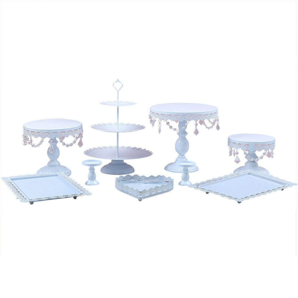 Cake Stands, 9 pcs Metal Crystal Cake Holder Cupcake Stands with Pendants and Beads Cake Stand Dessert, Wedding Birthday Dessert Cupcake Pedestal Display, White USA STOCK (9, white) by YIYIBYUS